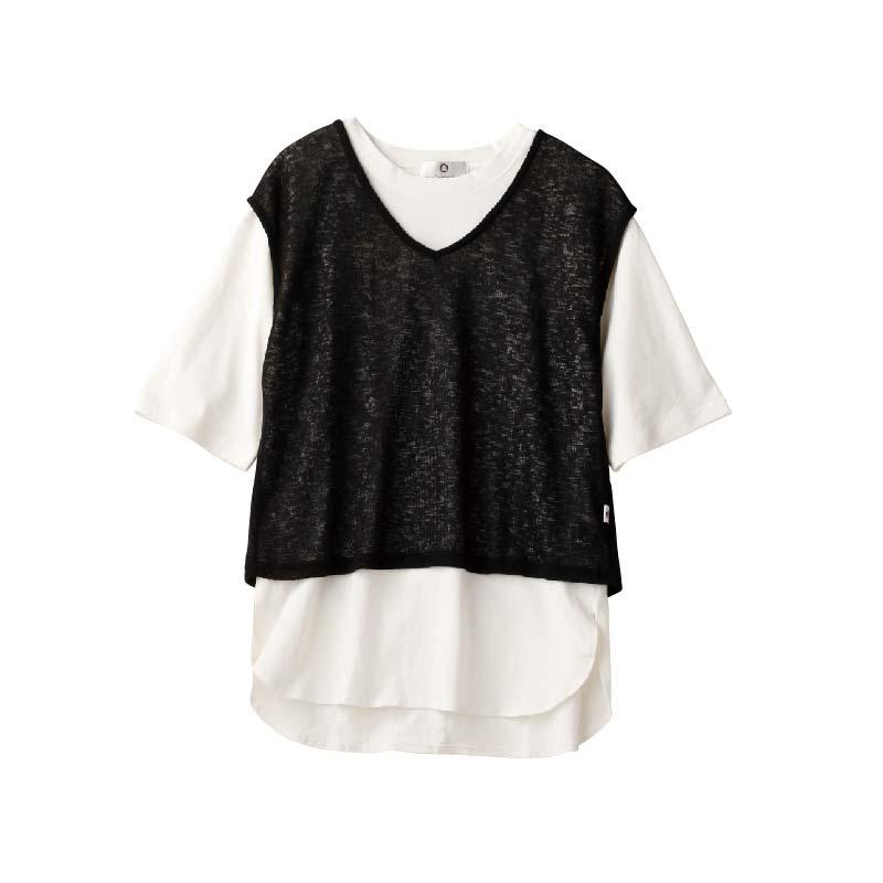 〈ルルカスタネット〉フェイクレイヤードTシャツ